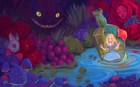 Картинка девушка, бутылка, арт, Alice in Wonderland