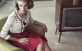 Картинка ретро, модель, телевизор, Rosie Huntington-Whiteley, Рози Хантингтон-Уайтли