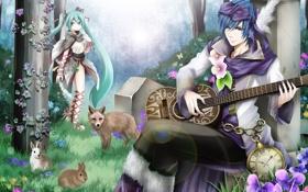 Картинка животные, цветы, часы, гитара, сад, лиса, зайцы