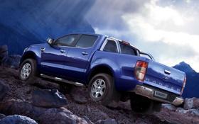 Обои небо, синий, камни, гора, Ford, Форд, джип