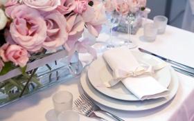 Обои цветы, розы, свечи, свадьба