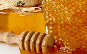 Обои капли, соты, мед, ложка, банка, сладости, мёд