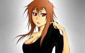 Обои грудь, взгляд, девушка, жест, art, Kamest, Hideki Shiruchi