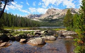 Картинка США, камни, скалы, лес, озеро, деревья, горы