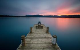 Картинка пейзаж, мост, озеро, пушка