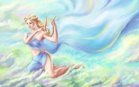 Обои небо, взгляд, облака, волосы, арт, богиня