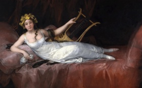 Обои девушка, картина, ложе, лира, Франсиско Гойя, Маркиза Санта-Крус