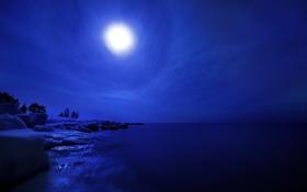 Обои лед, зима, небо, пейзаж, ночь, горизонт, Финляндия