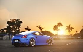Обои солнце, закат, синий, тюнинг, Nissan, блик, ниссан