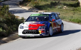 Обои Авто, Citroen, Фары, Red Bull, WRC, Rally, Передок