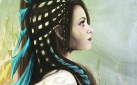 Картинка глаза, взгляд, девушка, лицо, фон, волосы, макияж
