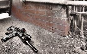 Обои оружие, улица, автомат