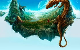 Обои трава, острова, цветы, горы, река, луна, драконы