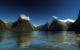 Обои горы, вода, озеро