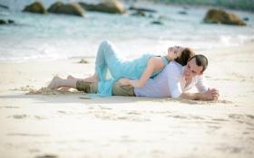 Картинка песок, море, пляж, солнце, скалы, горизонт, пара