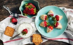Картинка ягоды, печенье, клубника, посуда, десерт, ложки, сметана