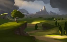 Картинка дорога, гроза, трава, деревья, пейзаж, горы, ветер