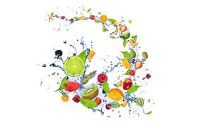 Картинка брызги, ягоды, малина, апельсин, киви, клубника, лайм
