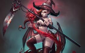Обои девушка, череп, шляпа, арт, коса, ведьма, красные глаза
