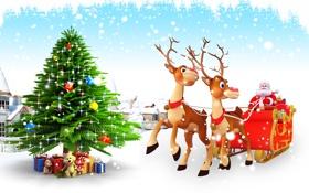 Картинка Reindeer, christmas, елка, олени, новый год, christmas tree, new year