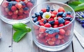 Обои стакан, ягоды, земляника, жимолость