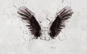 Обои wings, узоры, sign, рисунок, город, city, крылья