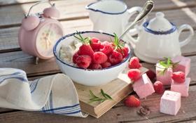 Обои ягоды, малина, десерт, творог, зефир, Anna Verdina, маршмэллоу