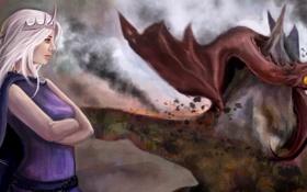 Обои взгляд, дракон, арт, белые волосы, Daenerys Targaryen