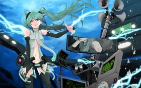 Картинка девушка, молния, разряд, vocaloid, hatsune miku, оборудование, мегафон