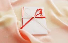 Обои настроения, лента, ткань, бантик, открытка