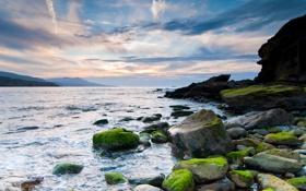 Картинка камни, скалы, небо, море, обои, берег, природа