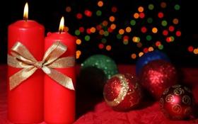 Обои шарики, праздник, рождество, Свечи, Новый год