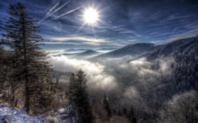 Обои Clouds, Sun, Snow, Mountains, Forest, Trees, Sunrays