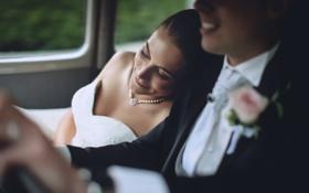 Обои девушка, Парень, свадьба