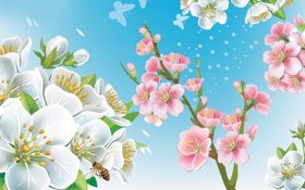 Картинка весна, пчела, ветки, вектор, цветы