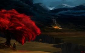 Картинка горы, ночь, мост, дерево, огонь, дракон, человек