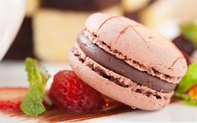 Картинка шоколад, клубника, мята, макарун