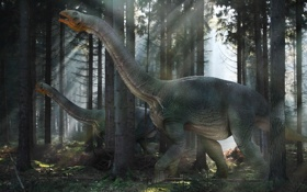 Обои лес, лучи, свет, динозавры, nemegtosaurs