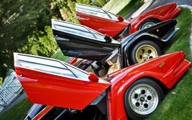 Картинка красный, чёрный, Lamborghini, red, black, ламборджини, Countach