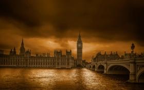 Картинка тучи, мост, река, Англия, Лондон, башня, Темза