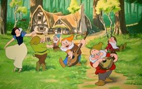 Картинка лес, дом, мультфильм, танцы, белоснежка и семь гномов, дисней, disney