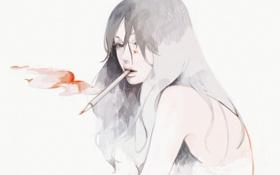 Обои девушка, рисунок, арт, карандаш, tae