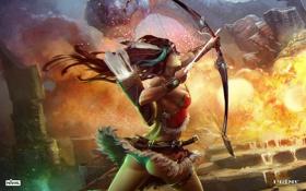 Картинка девушка, огонь, дракон, выстрел, лучница, Prime World