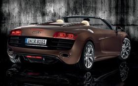 Картинка машина, отражение, стена, ауди, родстер, Audi R8