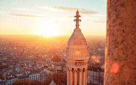 Обои здания, рассвет, Paris, город, панорама, France, дома