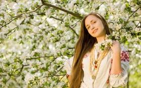 Картинка яблони, весна, девушка, настроение, сад