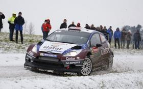 Обои Ford, Снег, Машина, Люди, Форд, WRC, Rally