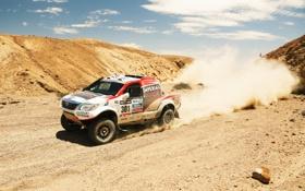 Обои Песок, Авто, Пыль, Белый, Спорт, Скорость, Toyota