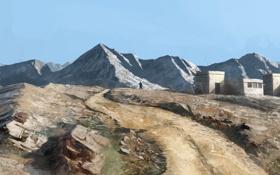 Картинка пейзаж, горы, камни, скалы, человек, фигура, деревня