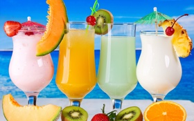 Обои море, киви, коктейль, фрукты, fresh, drink, cocktail